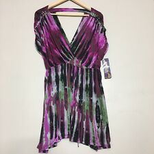 New Kouture by Kimora Studded Purple Cocktail Open Back Top Blouse SZ XL