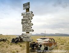Abandoned Cars & Road Sign, Route 66 in Arizona - Giclee Photo Print