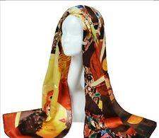 """Oblong 100% Charmeuse Silk Scarf Art Oil Painting Gustav Klimt's """"Judith II"""""""