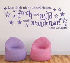 X480 Wandtattoo Spruch - Sei frech wild wunderbar Zitat Lindgren Wandaufkleber