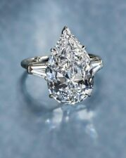 12 Ct Classic Pear-Shaped Engagement Ring with Tapered Baguette Solid 925 Silver