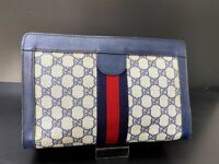 Authentic GUCCI Web Sherry Line Clutch Bag GG PVC Leather Navy Italy A-1225