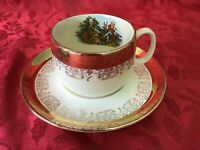 Crest O Gold Sabin 22K Gold Colonial Couple - CUP AND SAUCER
