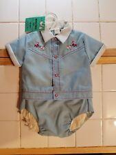 Vtg Infant Boy 18month shirt & Diaper plastic lined cover Horse & Buggy Blue/Red