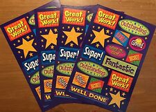 4 Sheets Reward Stickers! Super WOW! Great! Stars Way 2 Go Great Work!