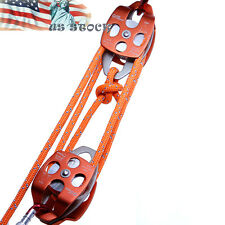 "5:1 Block and Tackle Crevasse Rescue Kit Twin Pulley 7/16"" Double Braid Rig Rope"
