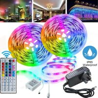 10M SMD RGB LED Strip Light 600LEDs+44 Key IR Remote +12V DC Power 3528 Full Kit