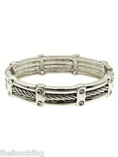 Urban Gothic Industrial Cable Wire design Silver Hinged Bangle Bracelet