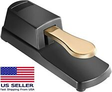 Sustain Keyboard Foot Damper Gold Pedal With Polarity Switch For Casio Roland...
