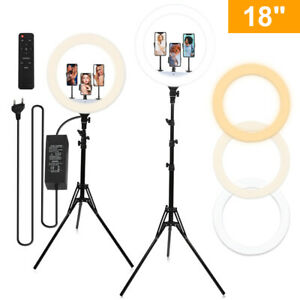 """18""""LED Ring Light Studio Photo Video Dimmable Makeup Lamp W/Tripod Stand Selfie"""