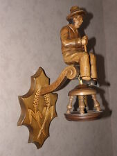 vintage CARVED BLACK FOREST wall LAMP light Wood Carving Lantern Folk Art retro