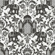G67364 - Indo Chic Elephant Taj Mahal Black Silver White Galerie Wallpaper