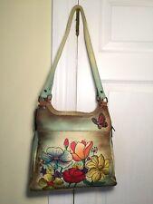 New w/ Tags ANUSCHKA Hand-Painted Floral Leather Handbag Shoulder Bag & Dustbag