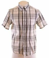 COLUMBIA Mens Shirt Short Sleeve Medium Grey Check Cotton  AD16