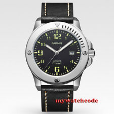 43mm parnis black dial 316 steel case sapphire glass miyota automatic mens watch