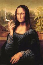 Mona Lisa - Smoking Joint Poster 24 x 36in Weed Marijuana Pot Davinci