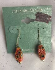 Sterling Silver And Coral Red Floral Millefiori Oblong Earrings-NWT