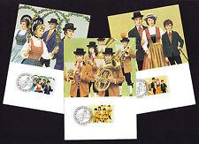 1980 Liechtenstein Maxi THREE POSTCARD SET Costumes Brass Band Dancers Ethnic PC