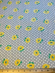 Vintage Cotton Feedsack Fabric 30s SWEET Yellow Daisies Purple Grid Floral EXC