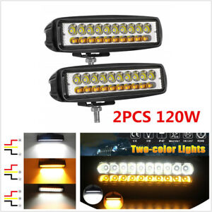 2Pcs 120W Car Offroad White & Amber Dual Color LED Work Light Fog Driving Lamps