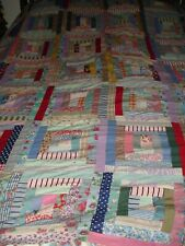 VINTAGE 1930-40 HAND PIECED & HAND SEWN LOG CABIN QUILT TOP ASSORTED COLOR 72X82