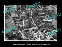OLD POSTCARD SIZE PHOTO OF STONE STAFFORDSHIRE ENGLAND TOWN AERIAL VIEW 1940 3