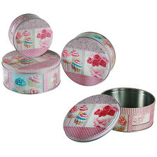 Set of 3 Cupcake Cookies Cake Box Round Storage Tin Metal Boxes Canister Pink
