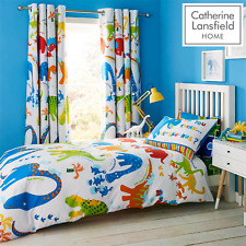 Catherine Lansfield Kids Dinosaur Duvet Set Reversible Bedding Curtain Bed Sheet