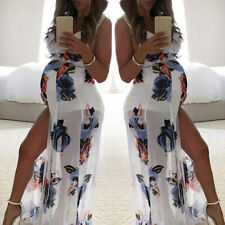 Women Pregnancy Maternity Summer Party Beach Slit Floral V-Neck Sleeveless Dress