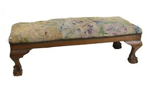 English Chippendale style Long Rectangular upholstered Footstool circa 1900