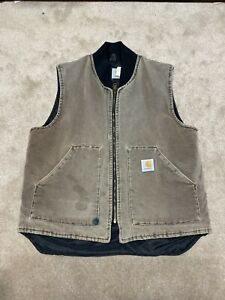 Vintage Carhartt Vest Union Made In USA Size L Faded Distressed
