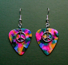 Guitar Pick Earrings With Peace Sign Charm On Tie Dye Psychedelic Colors