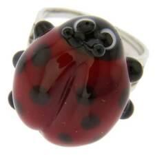 Glassofvenice Murano Glass Ladybug Adjustable Ring