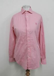 POLO RALPH LAUREN Ladies Pink Cotton Blend Long Sleeved Collared Shirt US4 UK8