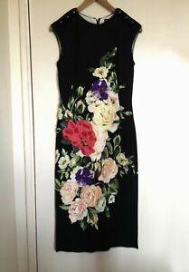 BNWT - Dolce & Gabbana Floral Applique Button Embellish Silk Mix Dress IT42 UK10