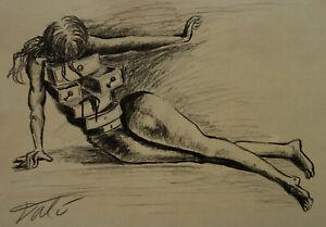 Rare original charcoal, Figure study drawing, signed Salvador Dali, w COA, docs.
