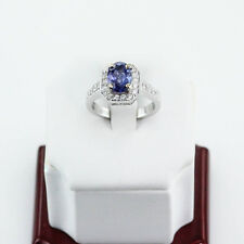 HIGH END! TANZANITE & 0.55 CT. DIAMOND COCKTAIL RING 18K SOLID WHITE GOLD US6.5
