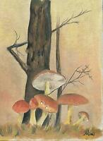VINTAGE FOREST WOODS TREE ORANGE MUSHROOMS NATURE OUTDOORS GRASS ART PAINTING