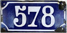 Large old blue French house number 578 door gate plate plaque enamel metal sign