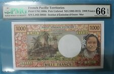 1992 -2013 French Pacific Territories 1000 Francs PMG66 EPQ GEM UNC (Tahiti)