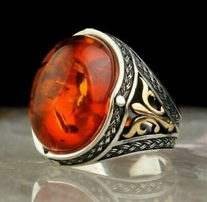 Solid 925 Sterling Silver Oval Baltic Amber Stone Men's Ring
