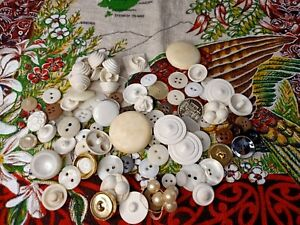 Small Bundle of White VINTAGE Buttons some mother of pearl Haberdashery Sewing