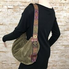 Fossil Handbag Embroidered Leather Strap Shoulder Bag Zip Soft Brown Women's