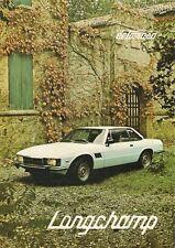 De Tomaso Longchamp 1979-80 UK Market Multilingual Foldout Sales Brochure