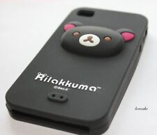 iPHONE 4 4G 4S - SOFT SILICONE RUBBER GEL SKIN CASE COVER 3D BLACK TEDDY BEAR