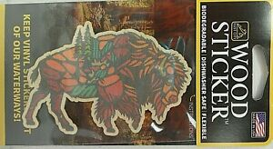 Buffalo Multi Color Wood Sticker - Made In USA -