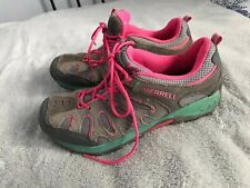 MERRELL YOUTH SIZE US 4 OUTDOOR TRAIL HIKING WATER SHOES GRAY/PINK SC8
