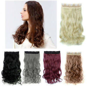 5pc Clips in Hair-Extension Matte Long False Curly Wavy Synthetic Hairpieces