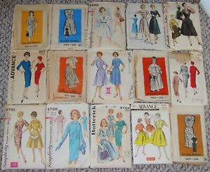 Lot of 15 Bust 36 Vintage Sewing Patterns 1950's 1960's