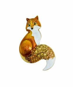 Fox Brooch Pin Pendant Rhinestones Enamel Gold Tone Animal Costume Jewelry